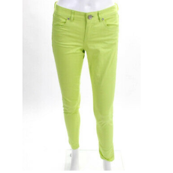 Tahari Lime Green Stretch Skinny Jeans Size 6
